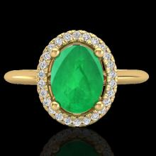 Natural 2.0 CTW Emerald & Micro Pave Diamond Bridal Ring Solitaire Halo 18K Gold - 21010-REF#43Z9Y