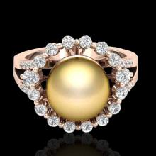 0.83 Ct Micro Pave VS/SI Diamond Certified Pearl Halo Ring 14K Gold - 20701-REF-71Y6V