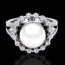 0.83 Ct Micro Pave VS/SI Diamond Certified & Pearl Halo Ring 18K Gold - 20706-REF-85N6Y