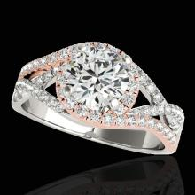 Genuine 2.0 CTW Certified G-I Genuine Diamond Bridal Solitaire Halo Ring Two Tone Gold - 33840-REF#337N2G