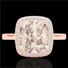 Genuine 3.0 CTW Morganite & Micro Pave Diamond Halo Solitaire Ring 14K Gold - 22847-REF#66Y2V