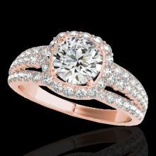 Genuine 2.25 CTW Certified G-I Genuine Diamond Bridal Solitaire Halo Ring Gold - 34008-REF#170W6K