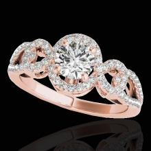 Genuine 1.38 CTW Certified G-I Genuine Diamond Bridal Solitaire Halo Ring Gold - 33919-REF#114N3G