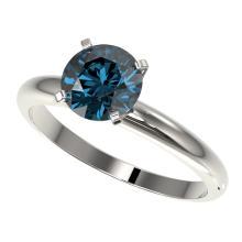 Genuine 1.55 CTW Certified Intense Blue Genuine Diamond Solitaire Engagement Ring Gold - 36447-REF#144M5H