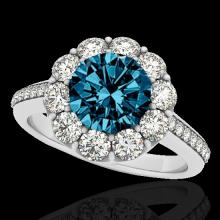 Genuine 2.0 CTW Certified Fancy Blue Diamond Bridal Solitaire Halo Ring Gold - 33252-REF#136V8F