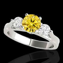 Genuine 1.75 CTW Certified Fancy Intense Genuine Diamond 3 Stone Bridal Ring Gold - 35383-REF#161H4R