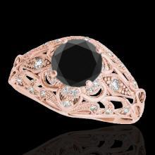 Genuine 1.36 CTW Certified Black Genuine Diamond Solitaire Antique Ring Gold - 34715-REF#62M8H