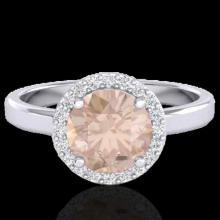 Natural 1.50 CTW Morganite & Halo Diamond Micro Ring Solitaire Bridal 18K Gold - 21634-REF#61W3K