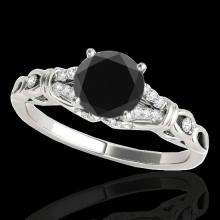 Genuine 1.20 CTW Certified Black Genuine Diamond Solitaire Bridal Ring Gold - 35253-REF#47N8G