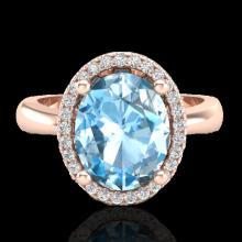 Genuine 3.0 CTW Sky Blue Topaz & Micro Pave Diamond Certified Ring Halo 14K Gold - 21097-REF#32W3K