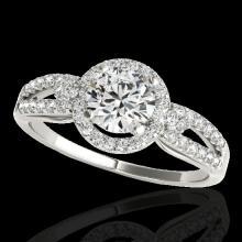 Genuine 1.25 CTW Certified G-I Genuine Diamond Bridal Solitaire Halo Ring Gold - 34087-REF#102G7W