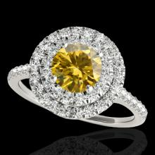 Genuine 1.50 CTW Certified Fancy Intense Diamond Solitaire Halo Ring 2 Tone Gold - 33357-REF#115Z2Y