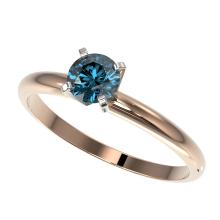 Genuine 0.50 CTW Certified Intense Blue Genuine Diamond Solitaire Engagement Ring Gold - 32862-REF#37Y8V