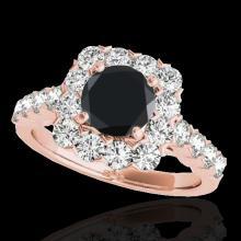Genuine 2.50 CTW Certified Black Genuine Diamond Bridal Solitaire Halo Ring Gold - 33347-REF#111V7F