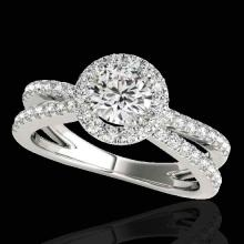 Genuine 2.0 CTW Certified G-I Genuine Diamond Bridal Solitaire Halo Ring Gold - 33855-REF#157T3X