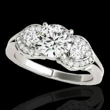 Genuine 1.45 CTW Certified G-I Genuine Diamond 3 Stone Bridal Ring Gold - 35331-REF#117H2R