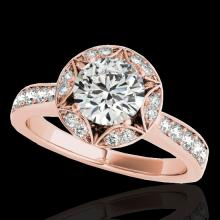 Genuine 1.50 CTW Certified G-I Genuine Diamond Bridal Solitaire Halo Ring Gold - 34230-REF#120T8X