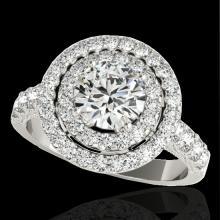 Genuine 2.25 CTW Certified G-I Genuine Diamond Bridal Solitaire Halo Ring Gold - 34211-REF#157G2W