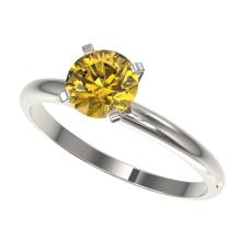 Genuine 1.01 CTW Certified Intense Yellow Diamond Solitaire Engagement Ring Gold - 36416-REF#80M7H