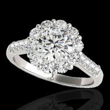 Genuine 2.75 CTW Certified G-I Genuine Diamond Bridal Solitaire Halo Ring Gold - 33427-REF#359X7A