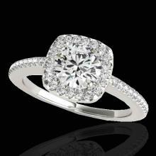 Genuine 1.25 CTW Certified G-I Genuine Diamond Bridal Solitaire Halo Ring Gold - 33823-REF#103K8T