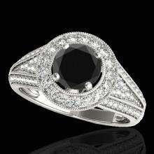 Genuine 2.17 CTW Certified Black Genuine Diamond Bridal Solitaire Halo Ring Gold - 33979-REF#90N7G