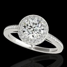 Genuine 1.55 CTW Certified G-I Genuine Diamond Bridal Solitaire Halo Ring Gold - 34274-REF#129H7R
