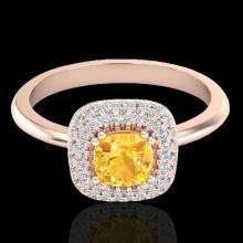 Genuine 1.16 CTW Citrine & Micro Pave Diamond Ring Solitaire Double Halo 14K Gold - 21025-REF#56K3T