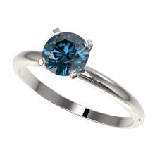 Genuine 1.0 CTW Certified Intense Blue Genuine Diamond Solitaire Engagement Ring Gold - 32890-REF#80K2T