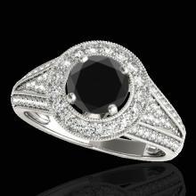 Genuine 1.70 CTW Certified Black Genuine Diamond Bridal Solitaire Halo Ring Gold - 33970-REF#83R5Z