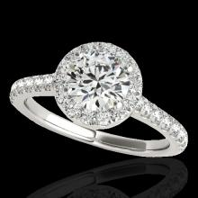 Genuine 1.40 CTW Certified G-I Genuine Diamond Bridal Solitaire Halo Ring Gold - 33580-REF#108M5H