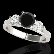 Genuine 1.75 CTW Certified Black Genuine Diamond 3 Stone Bridal Ring Gold - 35379-REF#88Z5Y