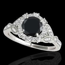 Genuine 1.50 CTW Certified Black Genuine Diamond Bridal Solitaire Halo Ring Gold - 33763-REF#64Y7V