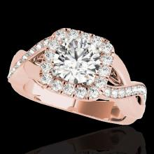 Genuine 2.0 CTW Certified G-I Genuine Diamond Bridal Solitaire Halo Ring Gold - 33317-REF#156A4N