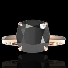 Natural 6.0 CTW Black Diamond Designer Inspired Solitaire Engagement Ring 14K Gold - 22174-REF#101R2Z
