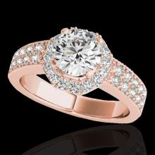 Genuine 1.40 CTW Certified G-I Genuine Diamond Bridal Solitaire Halo Ring Gold - 34550-REF#118Z2Y