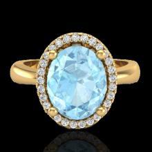 Natural 2.50 CTW Aquamarine & Micro Pave Diamond Certified Ring Halo 18K Gold - 21096-REF#47M8H