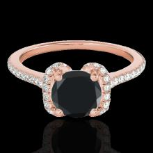Genuine 1.33 CTW Certified Black Genuine Diamond Bridal Solitaire Halo Ring Gold - 33293-REF#52N8G