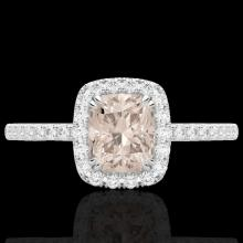 Natural 1.25 CTW Morganite & Micro Pave Diamond Certified Halo Ring 10K Gold - 22906-REF#32A8N