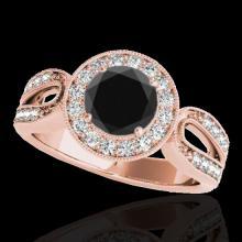 Genuine 1.40 CTW Certified Black Genuine Diamond Bridal Solitaire Halo Ring Gold - 34562-REF#74M3H