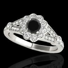 Genuine 1.90 CTW Certified Black Genuine Diamond Bridal Solitaire Halo Ring Gold - 34039-REF#78V7F