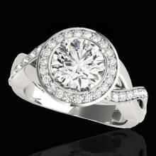 Genuine 2.0 CTW Certified G-I Genuine Diamond Bridal Solitaire Halo Ring Gold - 33276-REF#159A8N