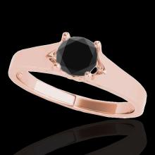 Genuine 1.50 CTW Certified Black Genuine Diamond Solitaire Bridal Ring Gold - 35168-REF#52K3T