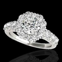 Genuine 2.90 CTW Certified G-I Genuine Diamond Bridal Solitaire Halo Ring Gold - 33391-REF#368T7X