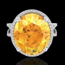 Natural 10 CTW Citrine & Micro Pave Diamond Certified Halo Ring 18K Gold - 20958-REF#78W2K