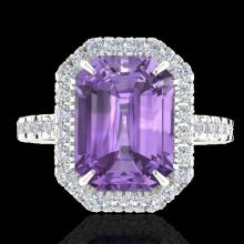 Genuine 53 CTW Amethyst And Micro Pave Diamond Certified Halo Ring 18K Gold - 21417-REF#57H7R