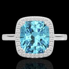 Natural 3.50 CTW Sky Blue Topaz & Micro Pave Diamond Halo Solitaire Ring 18K Gold - 22852-REF#48V2F