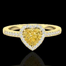 Natural 1.0 CTW Citrine & Micro Pave Ring Heart Halo In 14K Gold - 21404-REF#24F5M