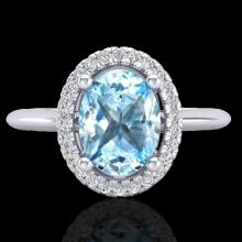 Natural 2.0 CTW Sky Blue Topaz & Micro Pave Diamond Bridal Ring Solitaire Halo 18K Gold - 21004-REF#43G9W