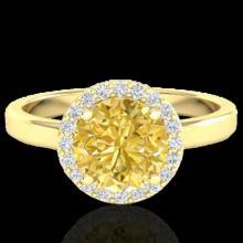 Genuine 2.0 CTW Citrine & Halo Diamond Micro Pave Ring Solitaire Bridal 18K Gold - 21627-REF#47F8M